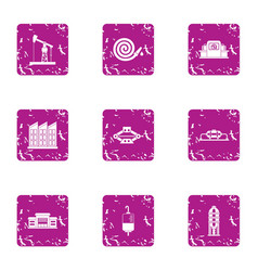 Rescue assistance icons set grunge style vector