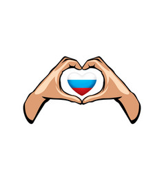 Russia flag and hand on white background vector
