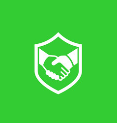 Safe deal partnership trust icon with handshake vector