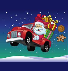 Santa claus drive a truck full christmas gift vector