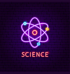science atom neon label vector image