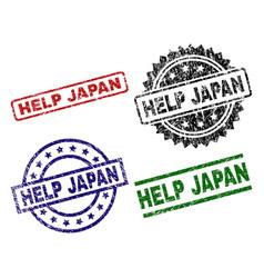 Scratched textured help japan stamp seals vector