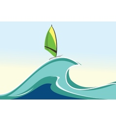 Sea windsurfing vector