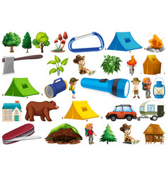 Set camping element vector