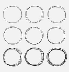 set of hand drawn circle elements vector image
