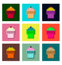 Set pixel icons of fruit muffin vector