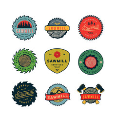 Set sawmill logos retro styled woodwork vector