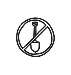 Shovel forbidden sign sketch icon vector