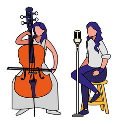 Singer and musician couple characters vector