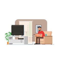 smiling man playing video game console at home vector image