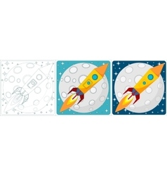 Space rocket on moon background Set vector image