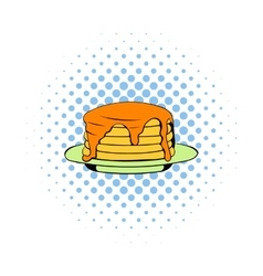 Stack of pancakes icon comics style vector image