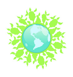 Stock abstract globe with green plants vector