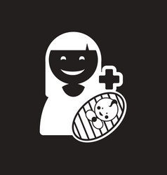Stylish black and white icon mother and son vector