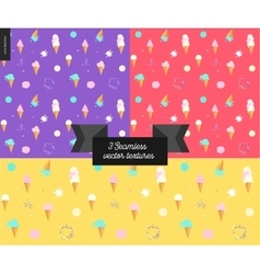 Three Ice cream seamless patterns vector image