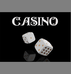 top view of casino sign and poker dice on black vector image