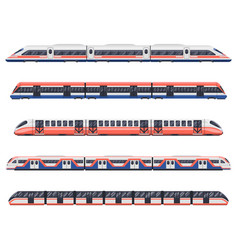 Trains subways and metro railway transport wagons vector