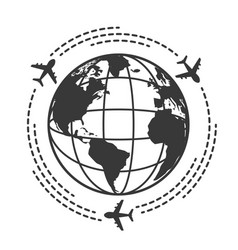 travel icons with airplane fly around the earth vector image