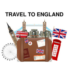 travel to england suitcase bag with landmark vector image