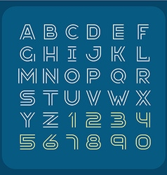 Two lines style retro font Alphabet with numbers vector image