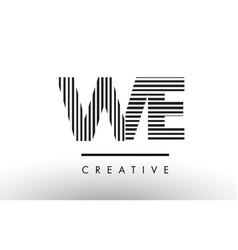 We w e black and white lines letter logo design vector