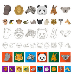 wild animal cartoon icons in set collection for vector image