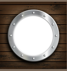 Window round ship porthole on a wooden wall vector