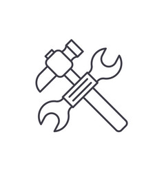 wrench and hammer line icon concept wrench and vector image