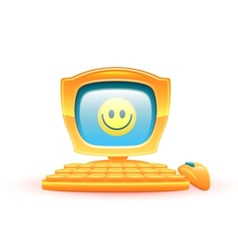 yellow computer with smile vector image