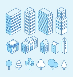 city landscape isometric and icons set vector image vector image