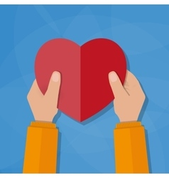 Hands holding the heart vector image