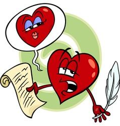 Heart reading love poem cartoon vector
