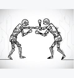 robot playing boxing vector image