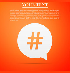 hashtag in circle icon on orange background vector image