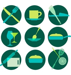 kitchenware icon set on green vector image vector image