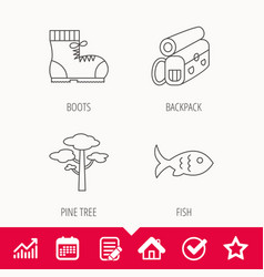 pine tree fish and hiking boots icons vector image vector image