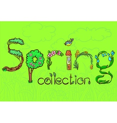 spring lettering vector image vector image