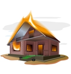 Brick house burns Cottage fire Vacation home vector image