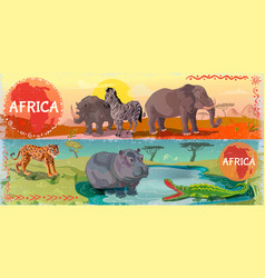 cartoon wild africa horizontal banners vector image