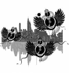 city of flying sound speakers vector image