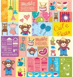 cute bear hat pattern vector image