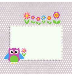 Frame with cute owl vector image vector image