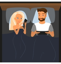 Happy couple using digital devices in bed at night vector image vector image