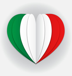 italy flag paper cut heart independence day love vector image