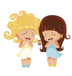 kawaii girls vector image vector image