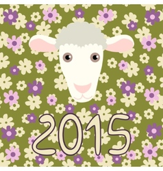 Retro card with cartoon sheep and flowers for vector image vector image