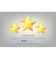 Super Stars Three Golden Stars Silver Background vector image