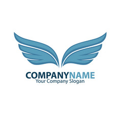 company name emblem with blue bird wings drawn on vector image vector image