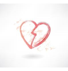 halves of the heart grunge icon vector image vector image