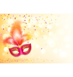 Red carnival mask with feathers on bokeh lights vector